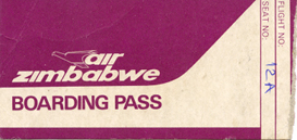 Air Zimbabwe - boarding pass
