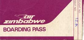Air Zimbabwe - boarding pass