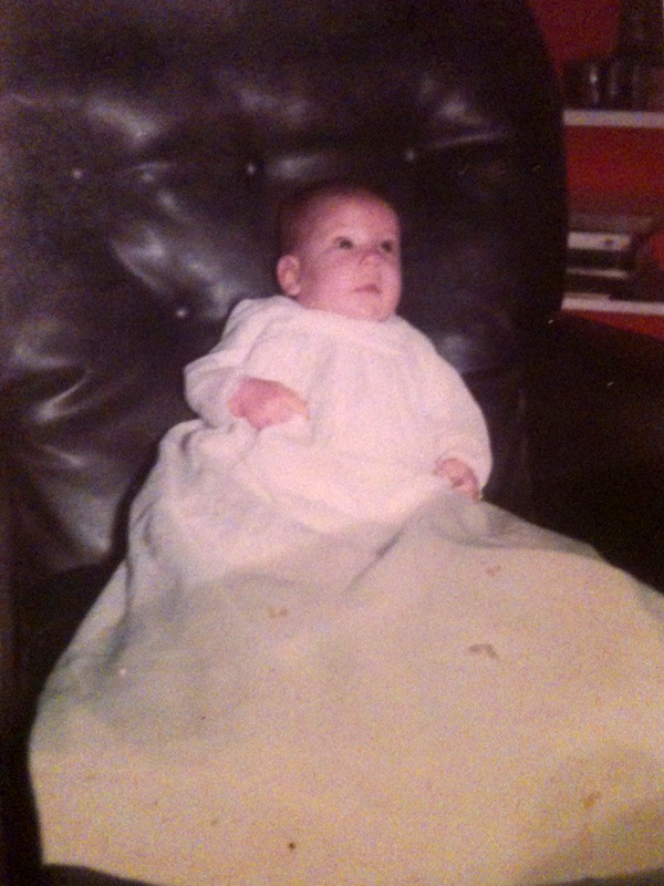 Daniel in his white christening gown - 1968