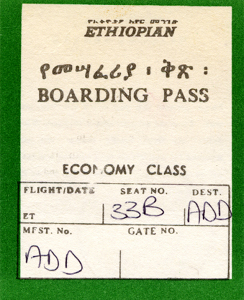 Ethiopian Air - boarding pass
