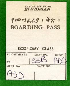Ethiopian Air - boarding pass