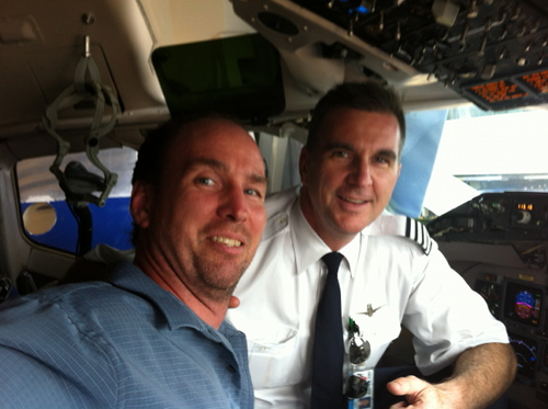 Tim with me in cockpit